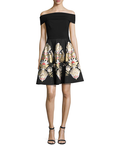 Airlo Opulent Jacquard Bardot Dress, Black