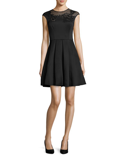 Dollii Embroidered Skater Dress, Black
