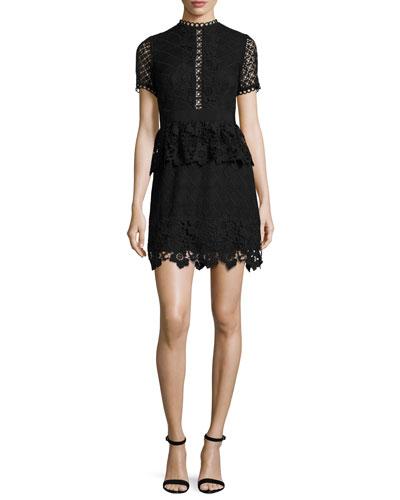 Dixa Mixed-Lace Peplum Skater Dress, Black