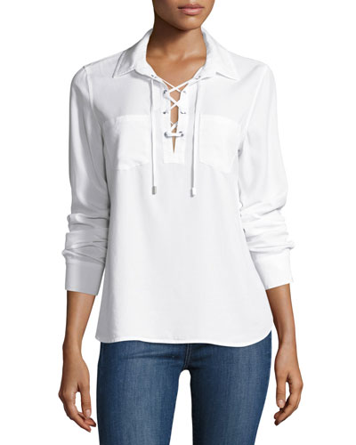 Billie Lace-Up Denim Shirt, White