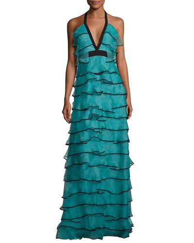 Tiered Silk Organza Halter Gown, Teal