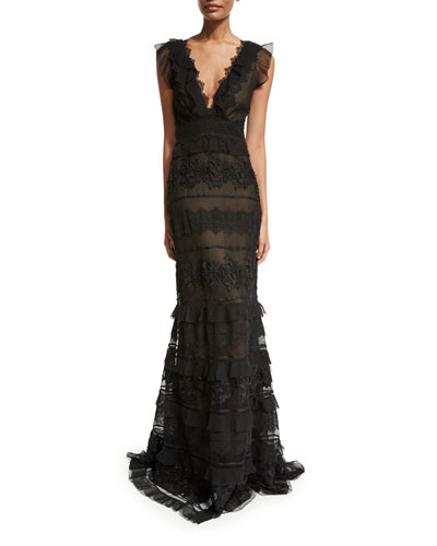 Sleeveless Tiered Embroidered Mermaid Gown, Onyx