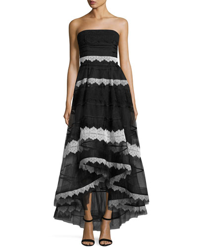Strapless Lace-Trim High-Low Tulle Gown, Black/White