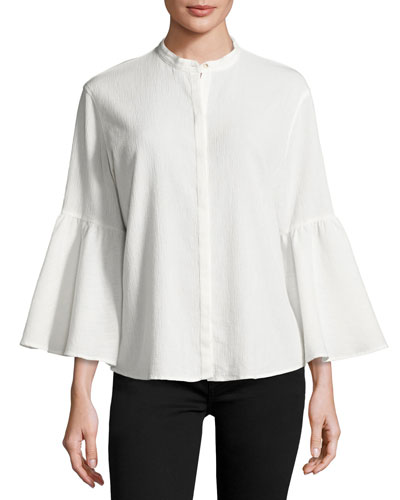 Goldie Crinkled Bell-Sleeve Shirt, White