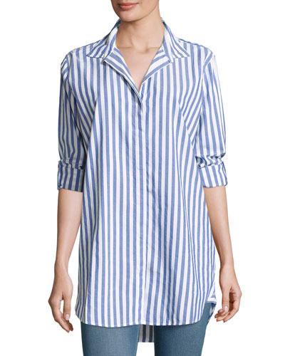 Oversized Striped Cotton Shirt, Blue/White