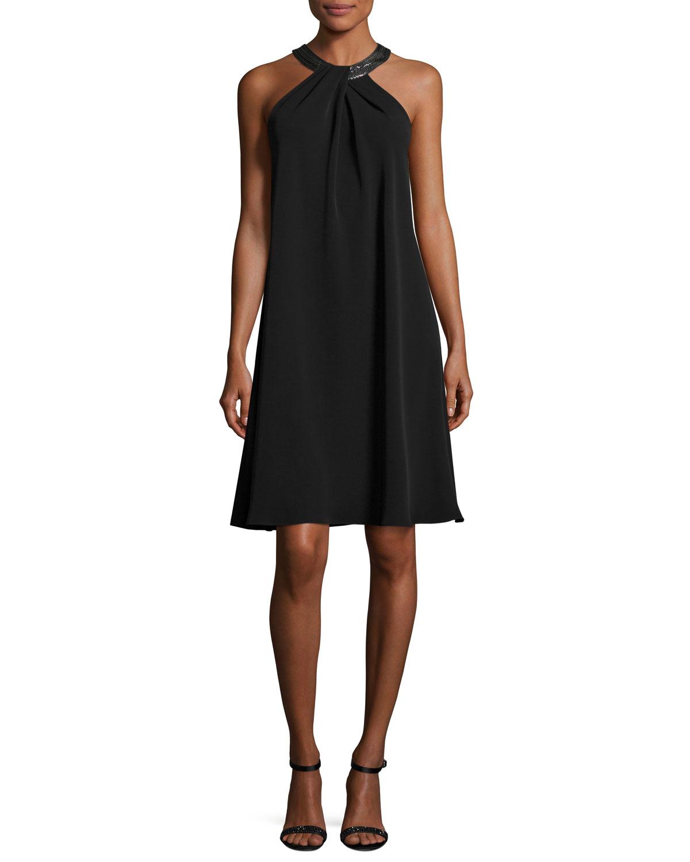 Sleeveless Chiffon Cocktail Dress, Black