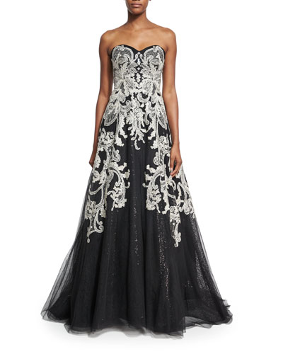 Strapless Filigree-Embroidered Gown, Black/White