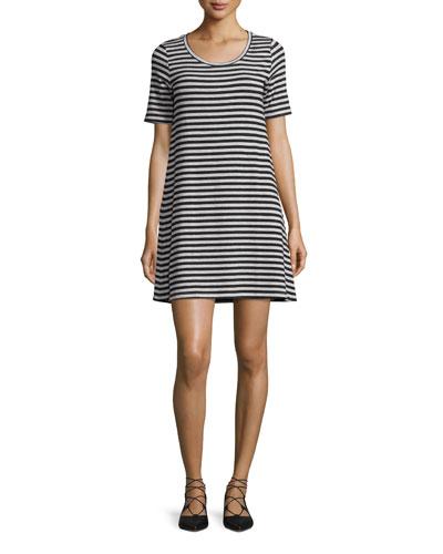 Short-Sleeve Crewneck Striped Shift Dress, Noir/Gris