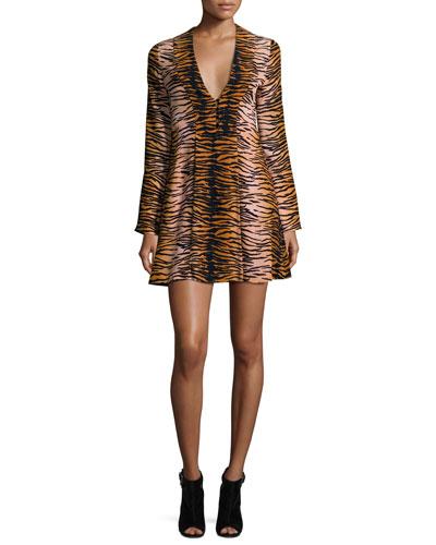 Brinkley Fit-and-Flare Tiger-Stripe Dress, Multicolor