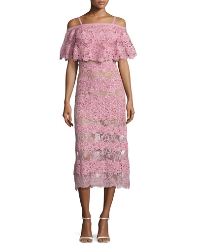 Off-the-Shoulder Lace Popover Midi Dress, Pink