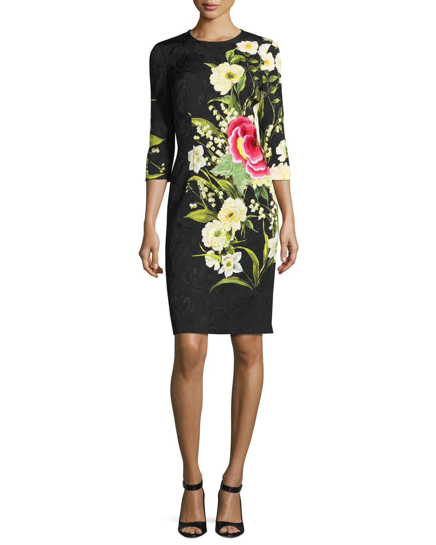 Floral-Jacquard 3/4-Sleeve Cocktail Dress, Black/Yellow