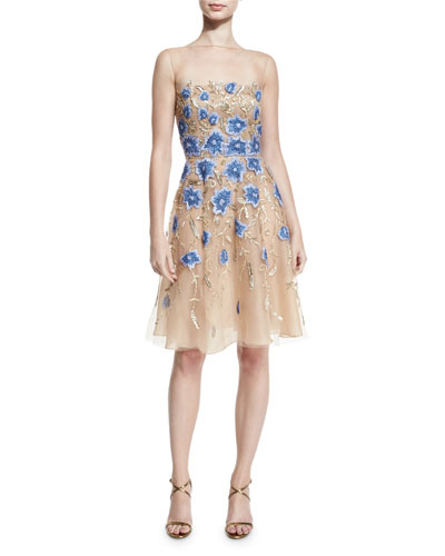 Floral-Appliqué Illusion Cocktail Dress. Gold/Blue