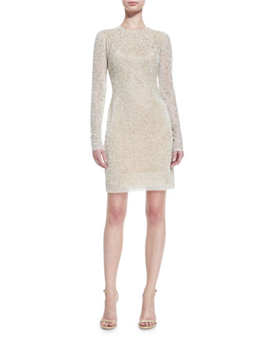 Beaded Jewel-Neck Long-Sleeve Cocktail Dress, Ivory