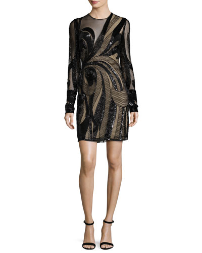 Long-Sleeve Sequined Illusion Cocktail Dress, Black