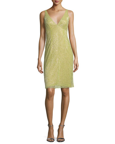 Beaded Sleeveless Cowl-Back Cocktail Dress, Powder Green