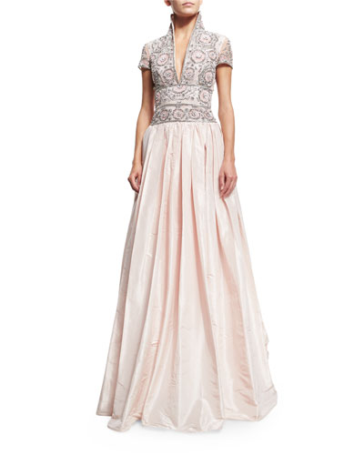 Short-Sleeve Beaded Ball Gown, Pale Pink