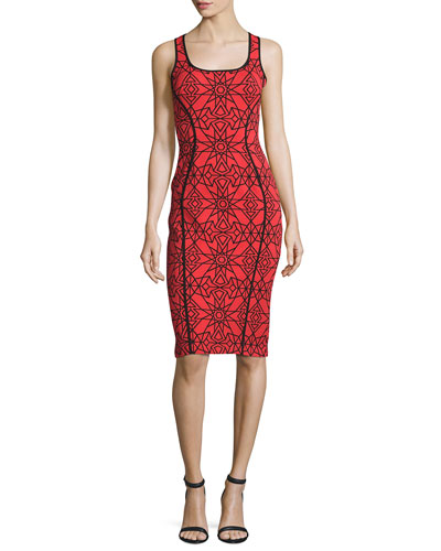 Sleeveless Two-Tone Printed Sheath Dress, Red/Black