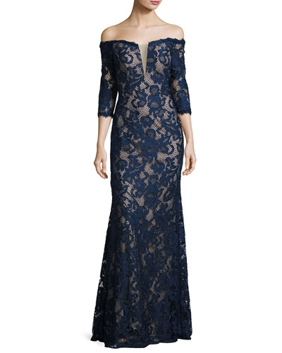 Off-the-Shoulder Beaded Floral Gown, Navy