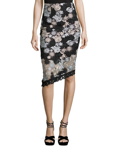 Floral Lace Asymmetric Skirt, Black/Silver