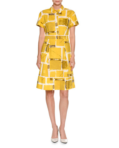 Square-Print Short-Sleeve A-Line Dress, Yellow