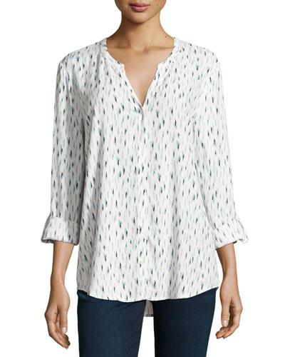 Dane Printed Long-Sleeve Top, White