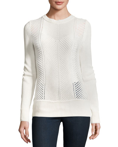 Sweetszer Silk-Cotton Sweater, Ivory