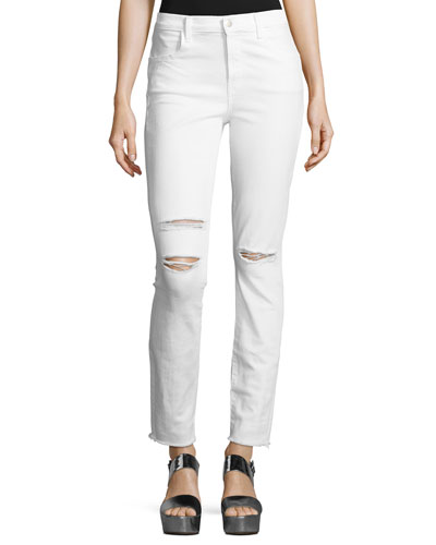 Maria High-Rise Distressed Skinny Jeans with Raw Hem, White Mercy