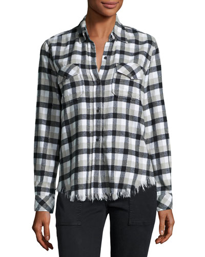 Perfect Plaid Fray-Hem Shirt, Black