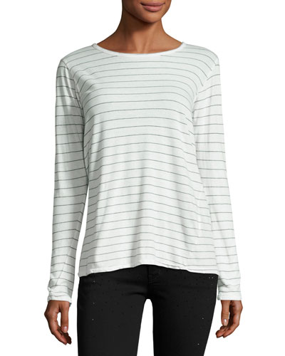 The Long-Sleeve Boyfriend T-Shirt, Dirty White Runaway Stripe
