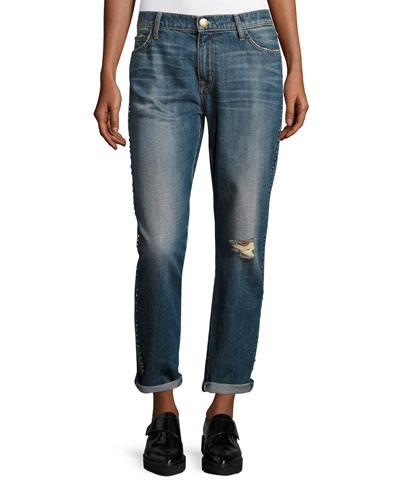 The Fling Cropped Boyfriend Jeans w/Studs, Whiskey Destroy