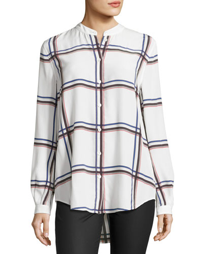 Henri Plaid Silk Blouse, White