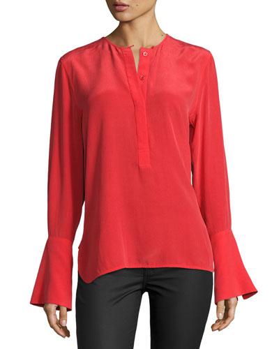 Kanley Bell-Sleeve Silk Shirt, Red