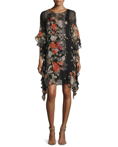3/4-Sleeve Floral-Print Ruffled Silk Shift Dress, Black