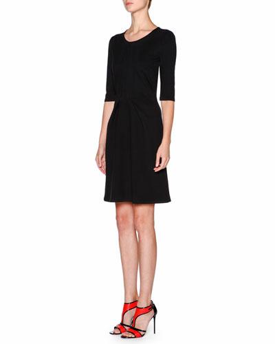 Half-Sleeve Pleated-Front Dress, Black