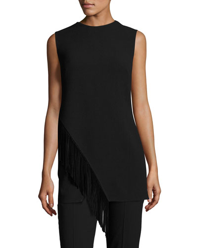 Wool Tunic with Suede Fringe, Black