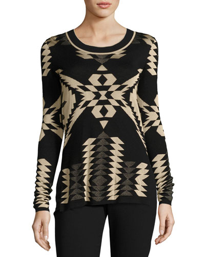 Geometric Jacquard Tunic Sweater, Black