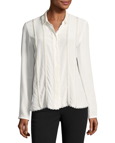 Elaine Long-Sleeve Blouse, Antique White