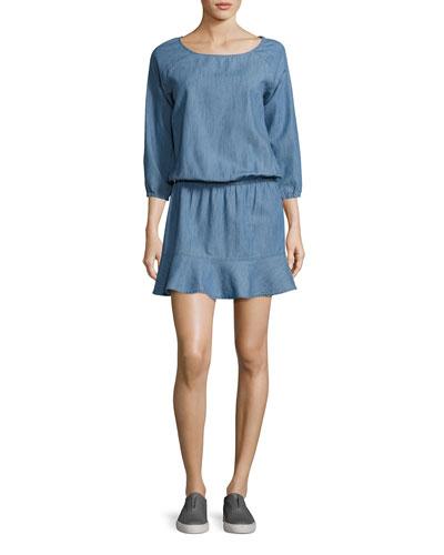 Arryn B 3/4-Sleeve Chambray Dress, Blue