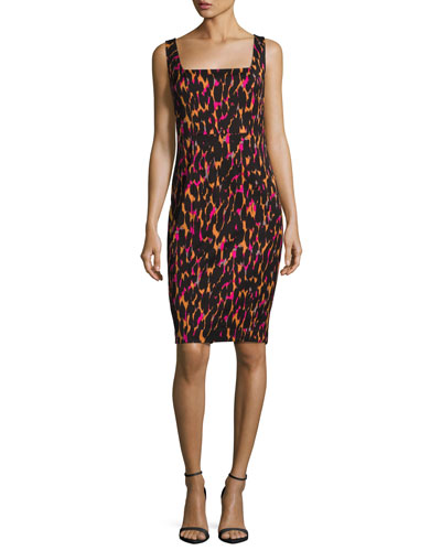 Bewitching Sleeveless Printed Sheath Dress, Black