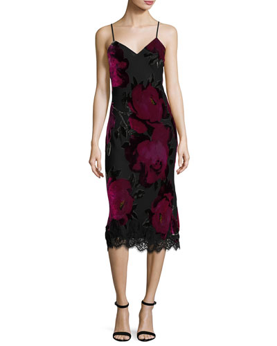 Cabaret Sleeveless Floral Midi Dress, Black