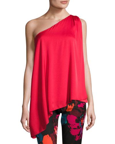 Nimah Asymmetric One-Shoulder Stretch Silk Top, Red