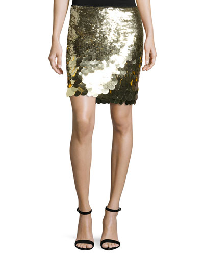 Kalina Sequin Mini Skirt, Gold