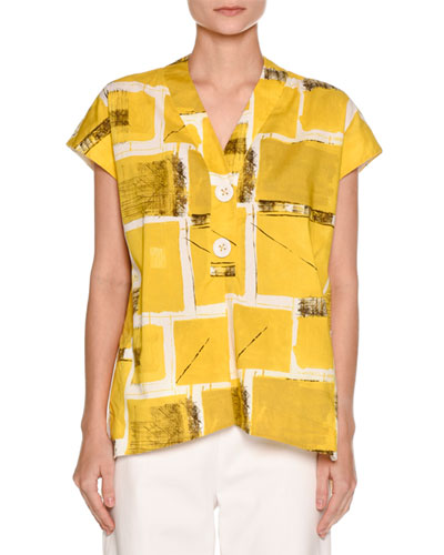 Printed Cap-Sleeve Blouse, Yellow