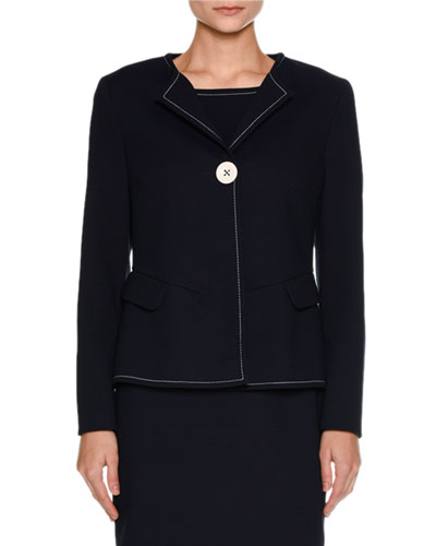 Ottoman-Knit One-Button Jacket, Navy