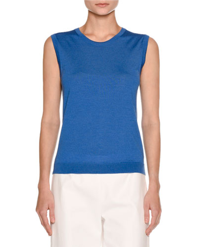 Sleeveless Crewneck Sweater, Cobalt