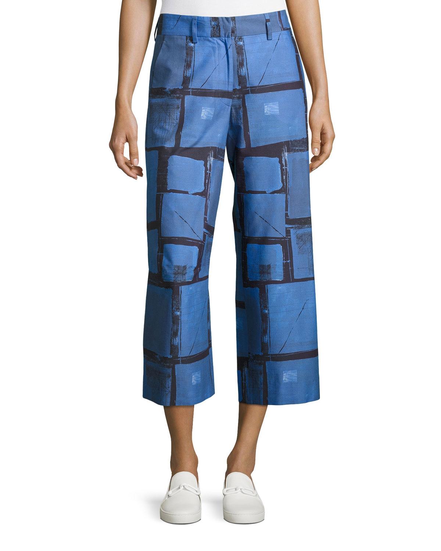Grid-Plaid Cropped Pants, Cobalt/Cornflower