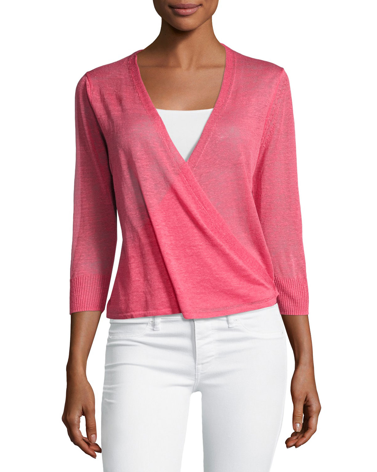 4-Way 3/4-Sleeve Cardigan, Pink, Petite