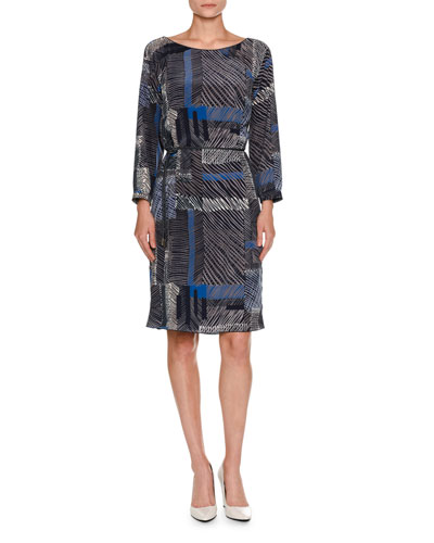 Grid-Print Belted Long-Sleeve Dress, Navy
