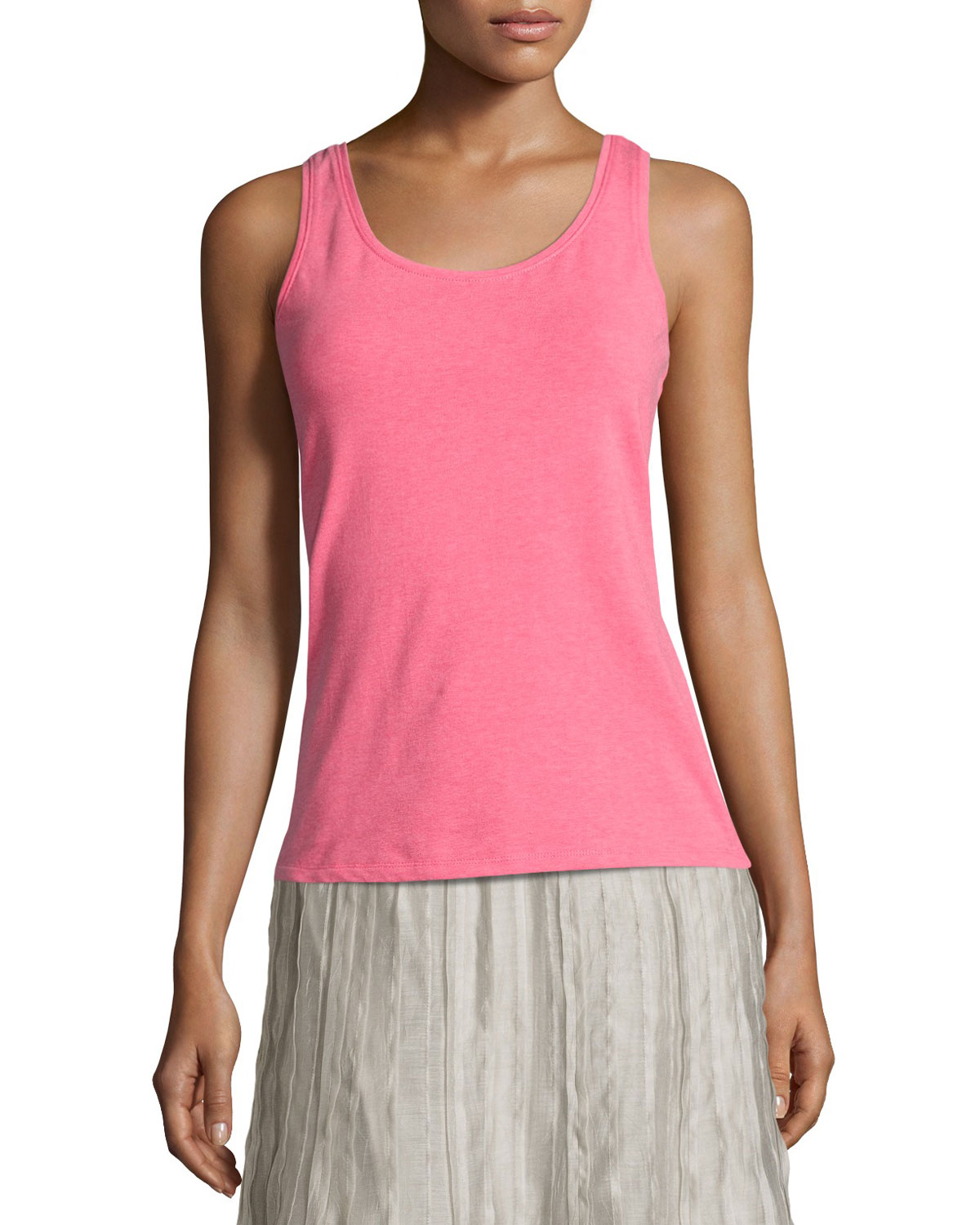 Perfect Scoop-Neck Tank, Pink, Petite