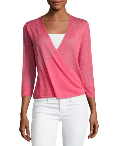 4-Way 3/4-Sleeve Cardigan, Pink, Plus Size